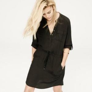 Lou & Grey Drawstring Black Roll Tab Shirt Dress M